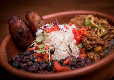 Beans, Rice, Wings, Carnitas